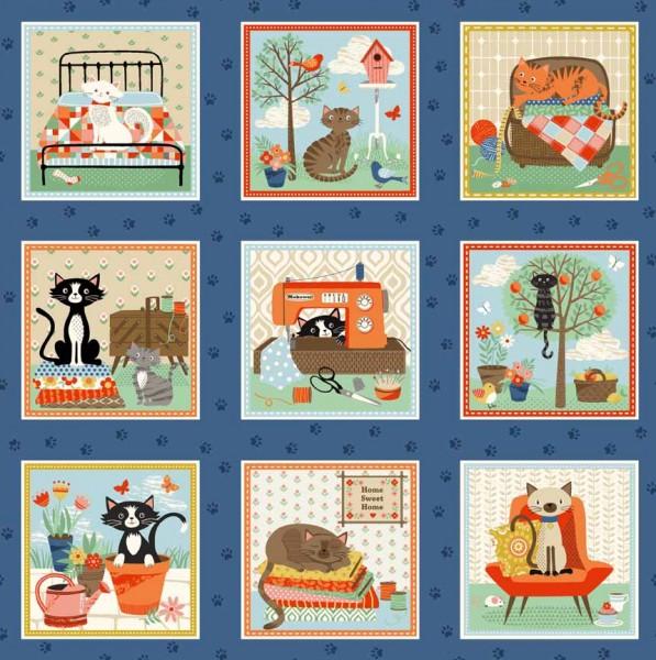 Patchworkstoff Crafty Cats Katzen Nähutensilien kleine Bilder