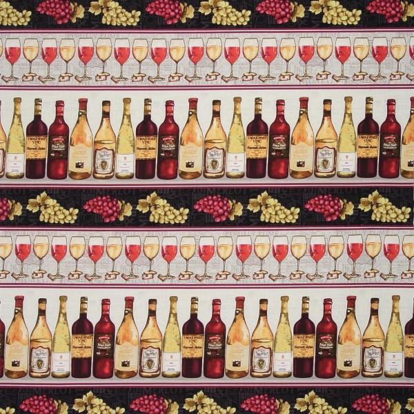 """Wein Patchworkstoff """"Wine Night"""" Weinflaschen Bordüren"""