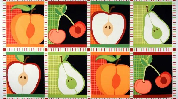 SALE Patchworkstoff Obst Kirschen Äpfel Birnen Panel