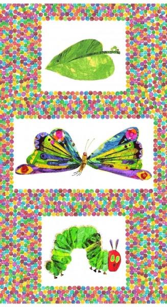 Patchworkstoff Raupe Nimmersatt Schmetterling Panel 0,6 m