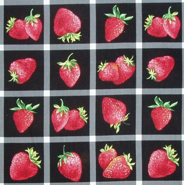 Erdbeeren Bilder auf Schwarz Michael Miller