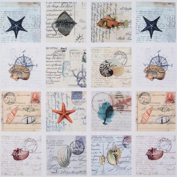 Dekostoff maritime Motive Postkarten