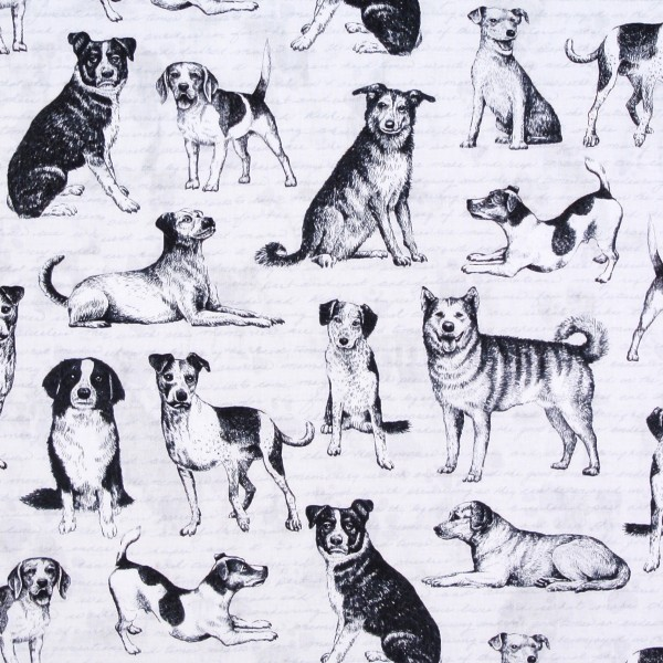 Patchworkstoff Hunde Hundestoff Rassehunde grau