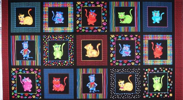 Patchworkstoff Loralie Cool Cats Katzen Panel