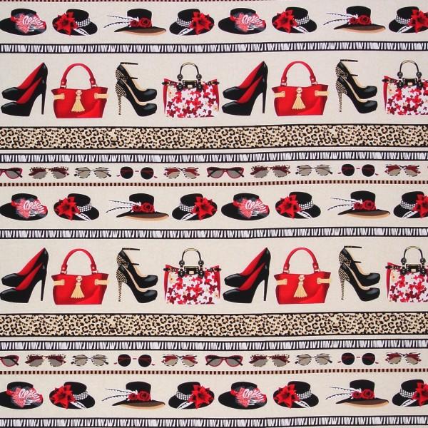 Patchworkstoff Baumwolle Shoe Love Schuhe Bordüre