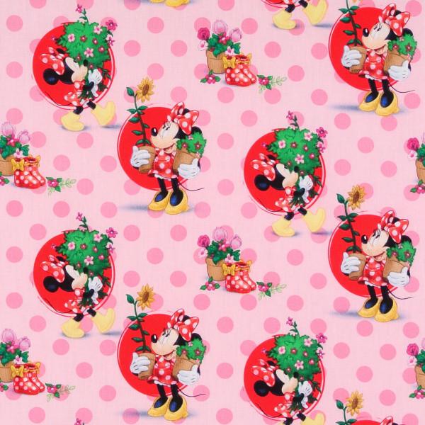 Disney Minnie Mouse und Gartenblumen rosa