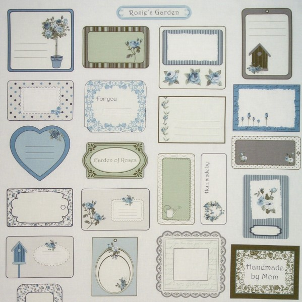 SALE 0,75 m Rosies Garden romantische Labels Panel