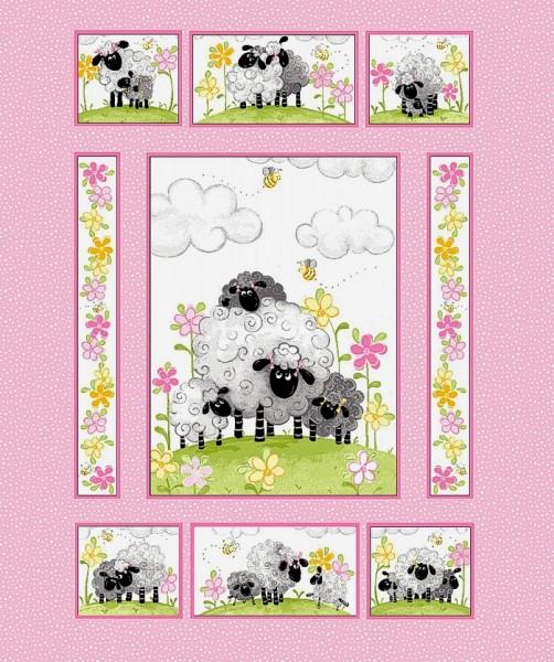 Susybee Lewe witzige Schafe Panel rosa 90 cm
