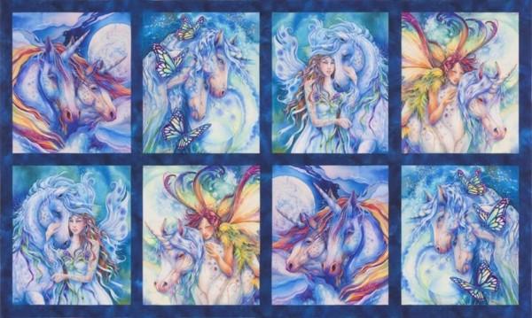 "Patchworkstoff Einhörner Elfen ""Magic Unicorn"" Panel"