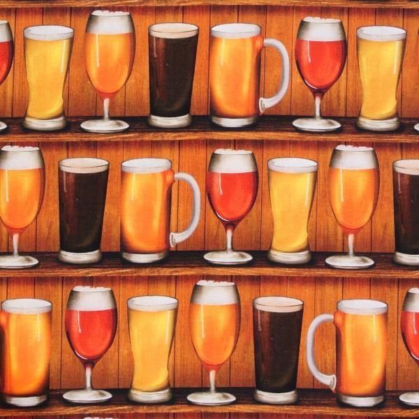 Patchworkstoff Baumwollstoff Bier Biergläser Cheers