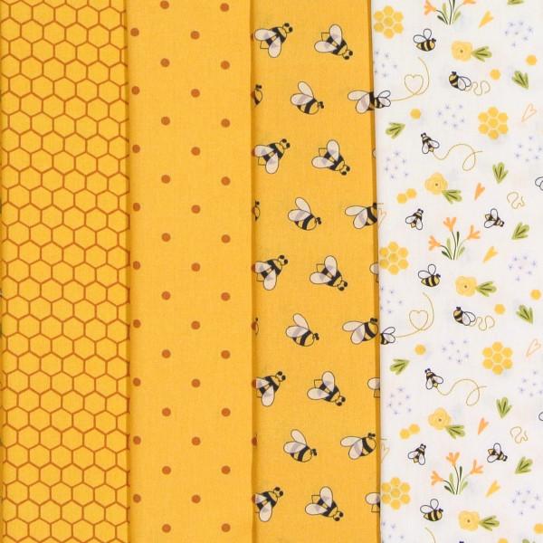 Bienen Stoffpaket Baumwollstoff Bienen Waben 4 Stoffe