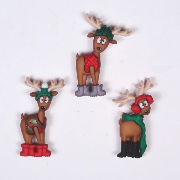 Motivknöpfe Dekoknöpfe Weihnachten Rentiere