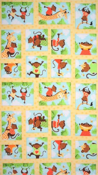 Susybee fröhliche Affen und Giraffen Panel
