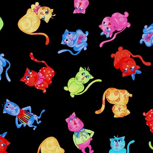 Patchworkstoff Loralie Katzen Cool Cats schwarz