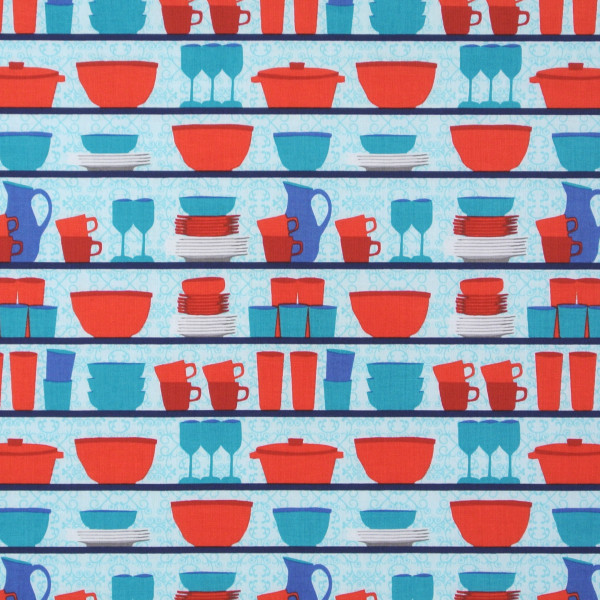 SALE Patchworkstoff Retro Table Talk Geschirr blau