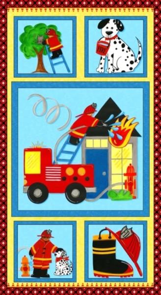 SALE Patchworkstoff Feuerwehr Five Alarm Five Panel