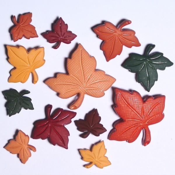 Motivknöpfe Herbst bunte Blätter