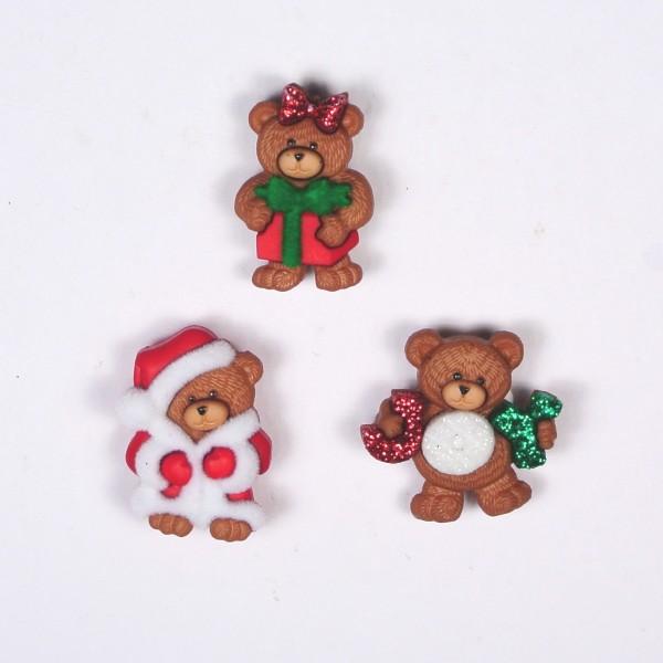 Motivknöpfe 3 Dekoknöpfe Weihnachten Bären