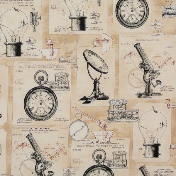 Vintage Erfindungen Objekte beige