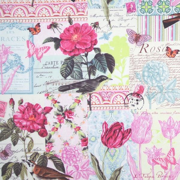 Patchworkstoff Blumen Garten Vögel Belle Rose
