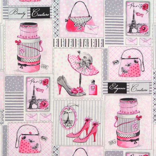 Patchworkstoff Frauen Glamour Schuhe Hüte Taschen Labels