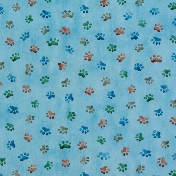 Patchworkstoff Hunde Whiskers Hundestoff Pfoten blau*