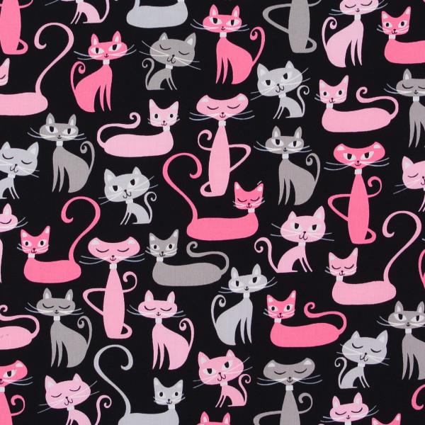 Retro schnurrende Katzen schwarz-rosa