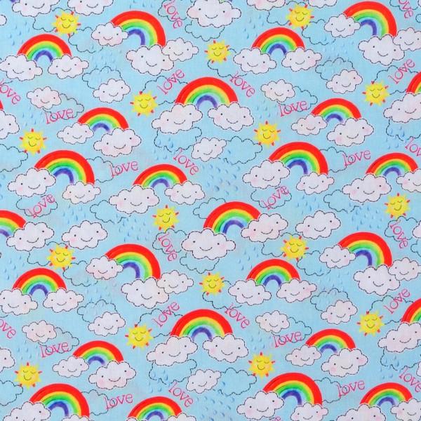 Baumwollstoff Regenbogen Wolken Love hellblau