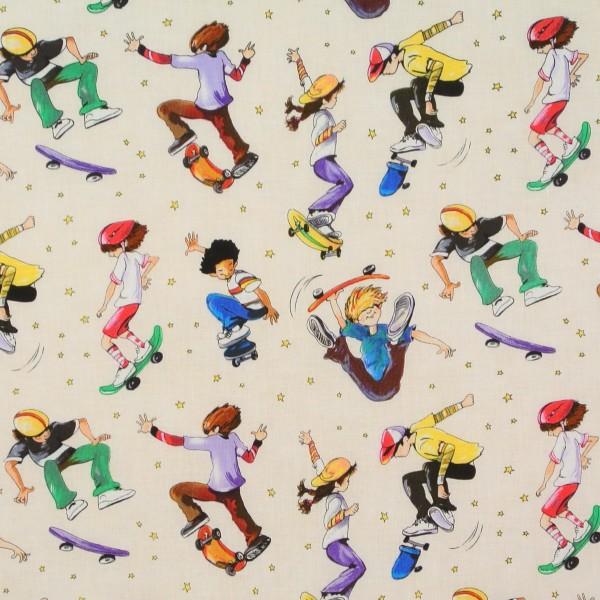0,90 m Patchworkstoffe Kinderstoff Active Kids Skater