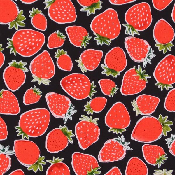 Robert Kaufman Erdbeeren auf Schwarz Obst