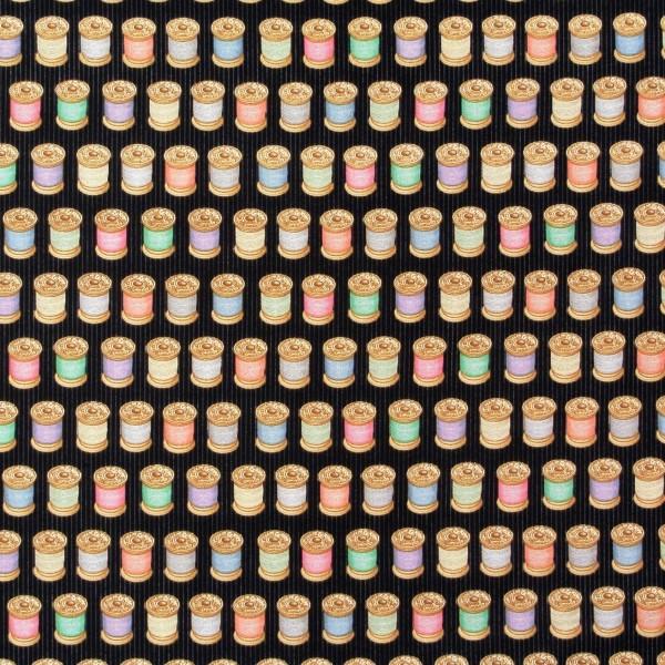 SALE Patchworkstoff Cute as a Button Spulen schwarz