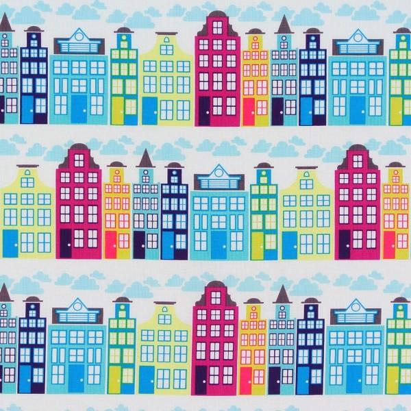 City Häuserreihen Türkis Pink