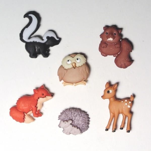 Motivknöpfe 6 Dekoknöpfe Waldtiere Tiere
