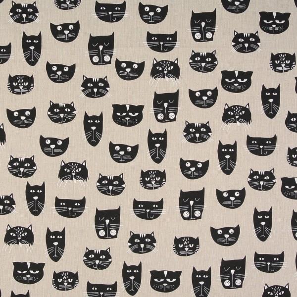 Dekostoff Katzen Katzenköpfe