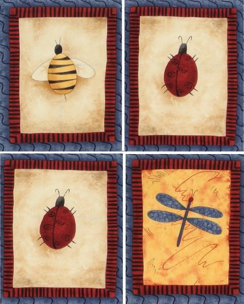 patchworkstoff käfer insekten garden folklore debbie mumm 4 panels