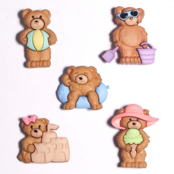 Motivknöpfe 5 Dekoknöpfe Bären Kinder Sommer