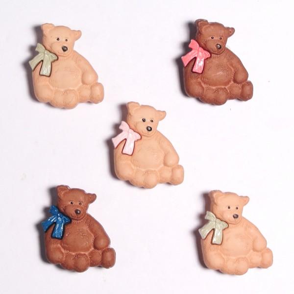 Motivknöpfe 5 Dekoknöpfe Bären Kinder Schleife