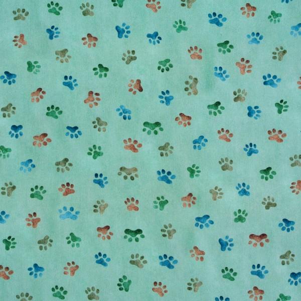 Patchworkstoff Hunde Whiskers Hundestoff Pfoten grün