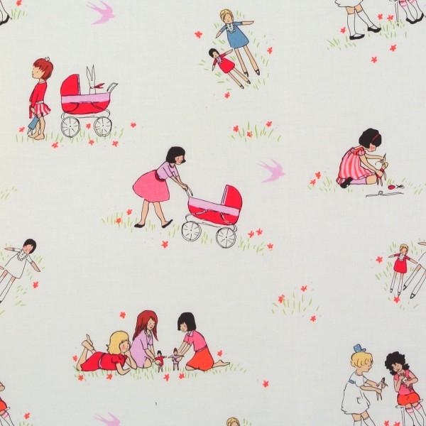 Children at Play spielende kleine Mädchen Puppen