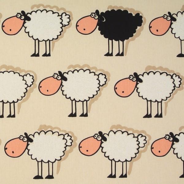Baumwollstoff Dekostoff Schafe schwarzes Schaf