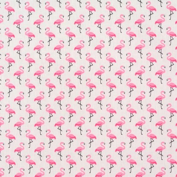 Dekostoff Baumwollstoff Flamingos weiss