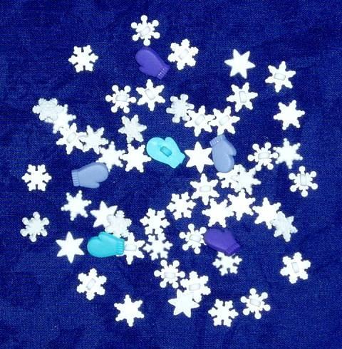 Motivknöpfe 50 Dekoknöpfe Winter Schneeflocken mini