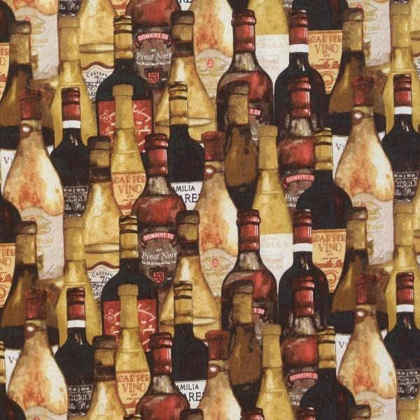 Patchworkstoff Wine Night Wein Weinflaschen