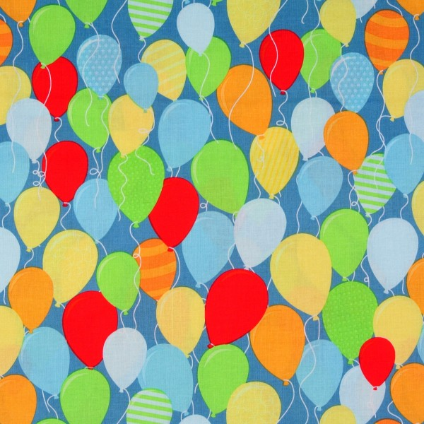 SALE 1 m Patchworkstoff Luftballons Kinderstoff blau