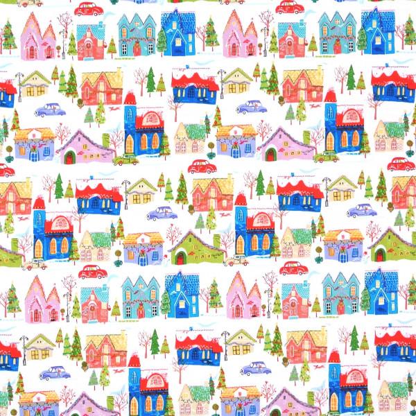 SALE 1 m Weihnachten Wonderland Häuser weiß