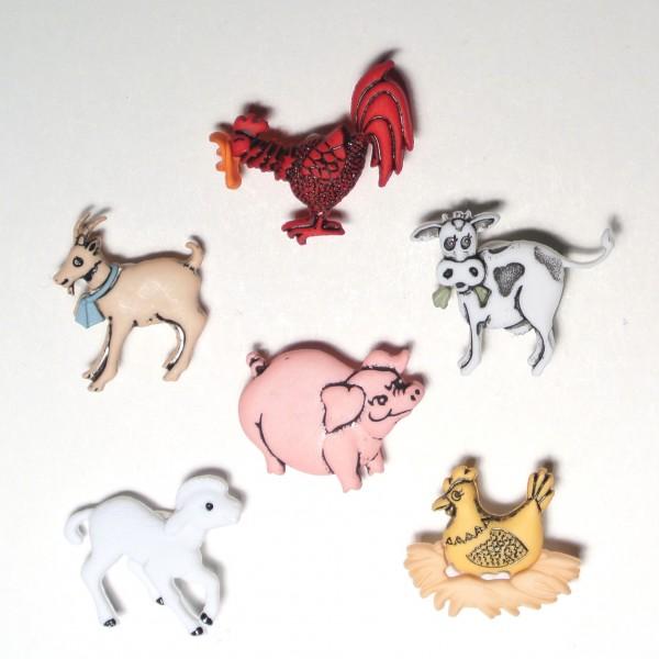 Motivknöpfe 6 Dekoknöpfe Bauernhof Tiere