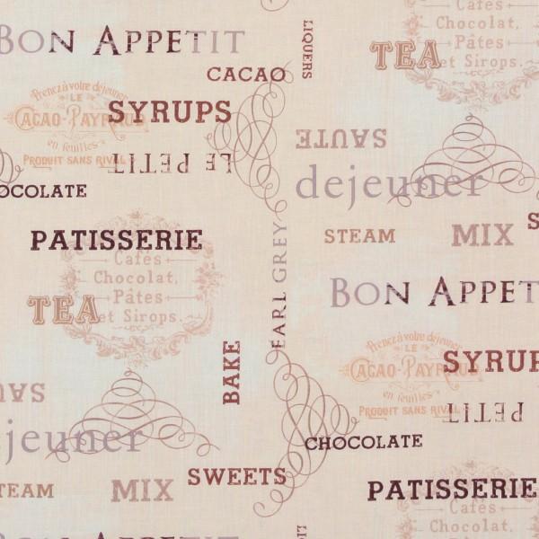 Patchworkstoff Ivory KitchenKüche nostalgische Schrift