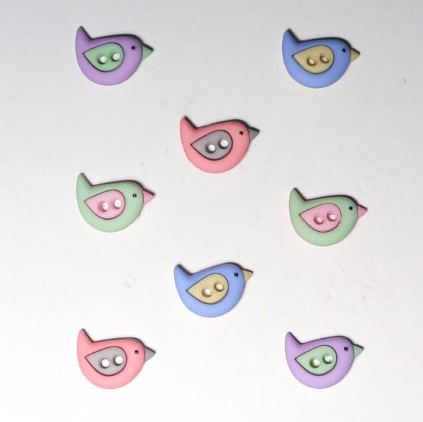 Motivknöpfe 8 Dekoknöpfe kleine Vögel Tiere