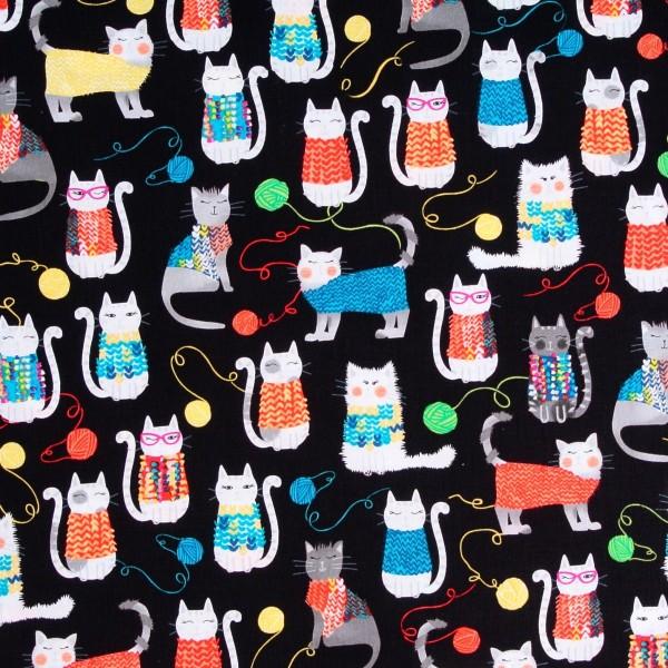 Knit Together Katzen Katzenstoff Stricken Strickzeug
