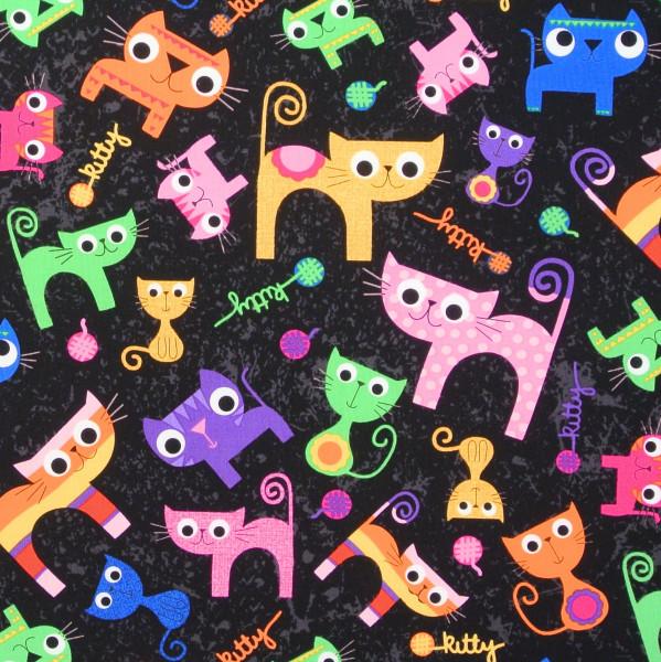 Pawsome Cats Katzen auf Schwarz